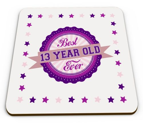 Best Ever Age 13-100 Year Old Ever Novelty Glossy Mug Coasters - Pink/Purple